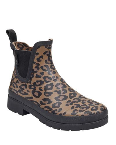 Lina Leopard-Print Rubber Rain Boots