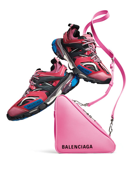 Balenciaga Mixed-Media Leather Track Sneakers