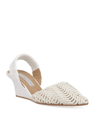 Macrame Slingback Wedge Pumps