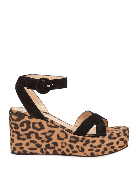 Gianvito Rossi Leopard Satin Wedge Sandals