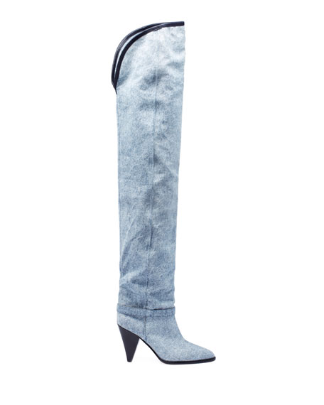 Isabel Marant Learon Denim Over-the-Knee Boots