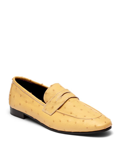 Flaneur Ostrich Slip-On Flat Loafers  Yellow