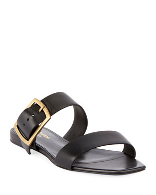 34024f6ffbf5 Saint Laurent Jodie Flat Leather Slide Sandals