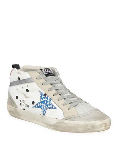 Mid Star Dot Leather/Suede Wing-Tip Sneakers