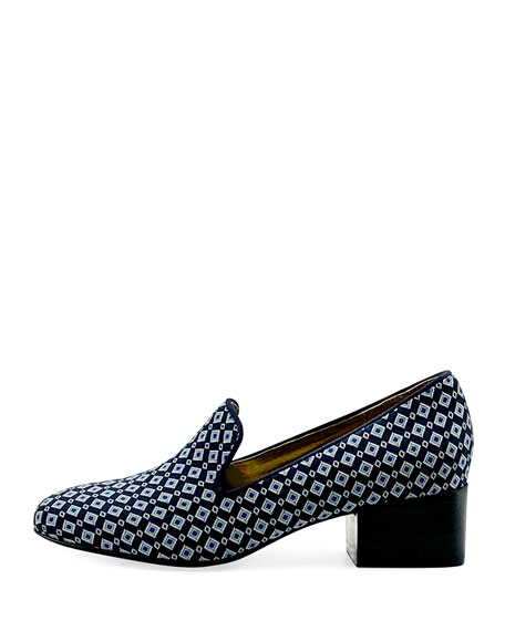 Bettye Muller Concept Breeda Block-Heel Brocade Loafers