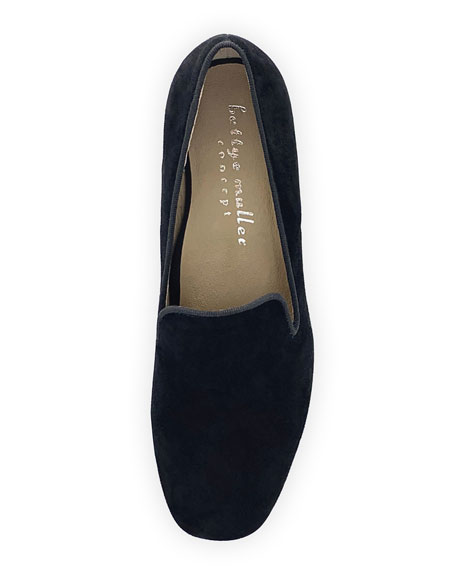 Bettye Muller Concept Breeda Block-Heel Suede Loafers