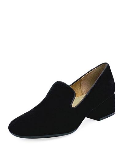 Breeda Block-Heel Suede Loafers