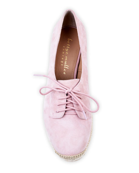 Bettye Muller Concept Regine Suede Lace-Up Espadrilles, Pink