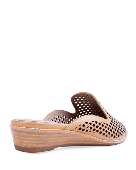 Bettye Muller Concept Cara Perforated Leather Mules, Beige