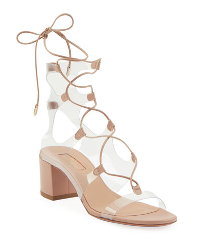 Milos Leather Illusion Block-Heel Sandals