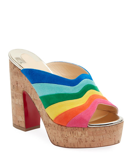 Christian Louboutin Sister Rainbow Suede Red Sole Slide Sandals