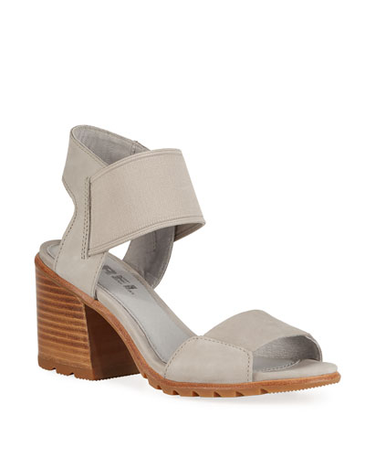 Nadia Block-Heel Leather Sandals