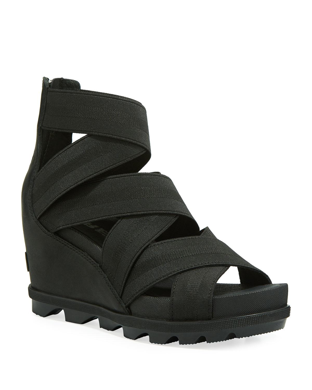 387f1079cb3 Sorel Joanie II Stretch-Strap Leather Wedge Sandals