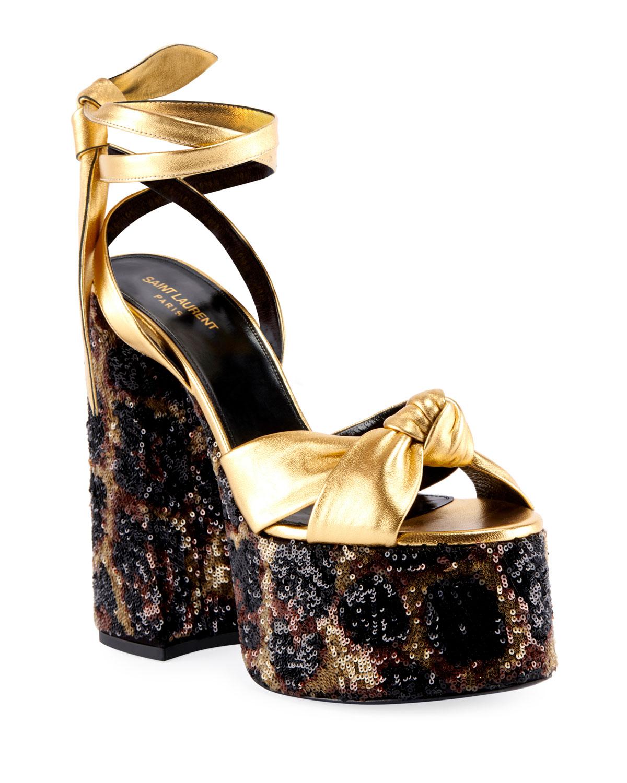 ce3ae1c728d1 Saint Laurent Paige Knotted Leopard Platform Sandals