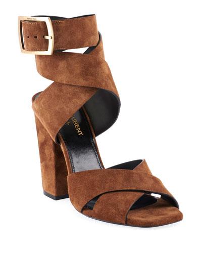 Oak Suede Buckle Sandals