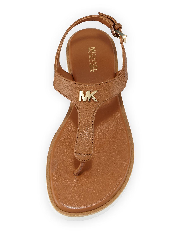816006bb8653 MICHAEL Michael Kors Brady Flat Leather Thong Sandals   Neiman Marcus