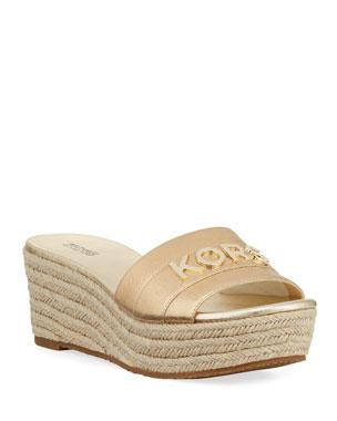 4553a0f2a2e5 MICHAEL Michael Kors Brady Metallic Logo Platform Sandals