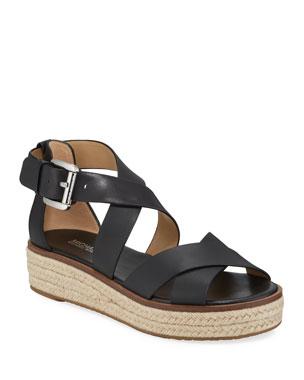 f1299f90029c MICHAEL Michael Kors Darby Leather Flatform Espadrille Sandals