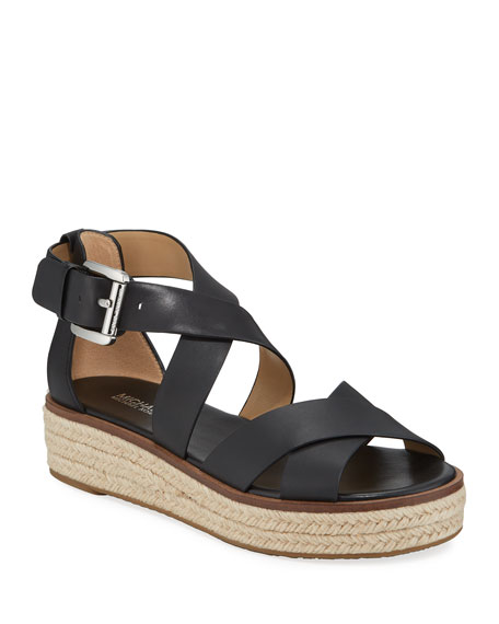 MICHAEL Michael Kors Darby Leather Flatform Espadrille Sandals