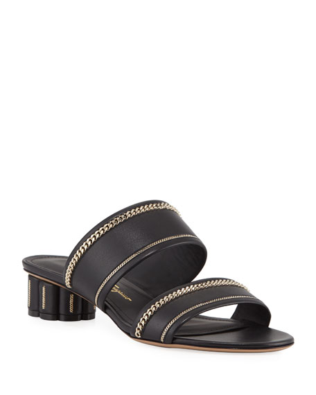 Salvatore Ferragamo Belluno Lux Chain-Trim Slide Sandals