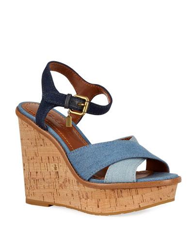 Denim Ankle-Strap Wedge Sandals