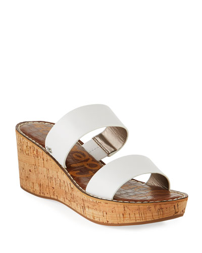 eb2d61dbe Sam Edelman Rydell Cork-Wedge Leather Sandals White from Neiman ...