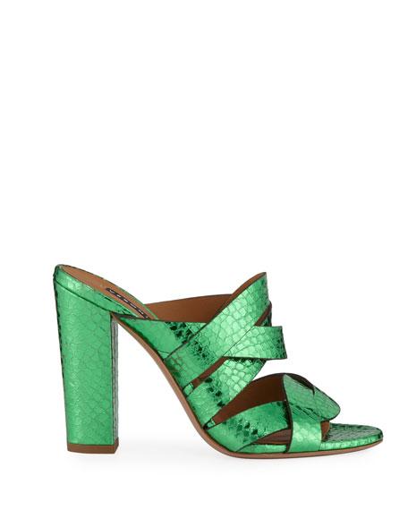 Veronica Beard Macey Snake-Embossed Metallic Slide Sandals
