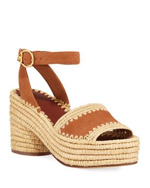 27b53da75 Tory Burch Arianne Raffia-Platform Suede Sandals