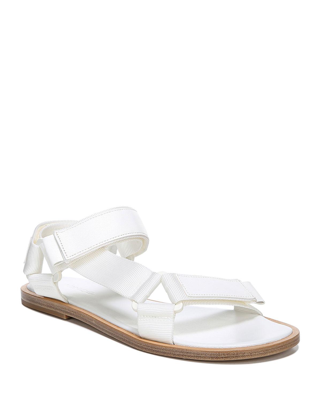3c20c85b43be1 Vince Parks Flat Leather Nylon Grip-Strap Sandals