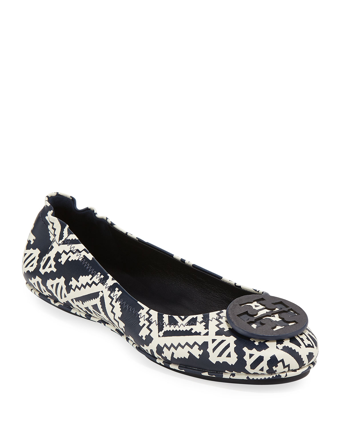 76a69efb743 Tory Burch Minnie Floral Travel Logo Ballet Flats