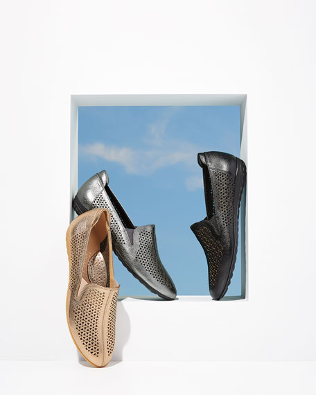Sesto Meucci Bev Cutout Leather Sneaker Flats, Black