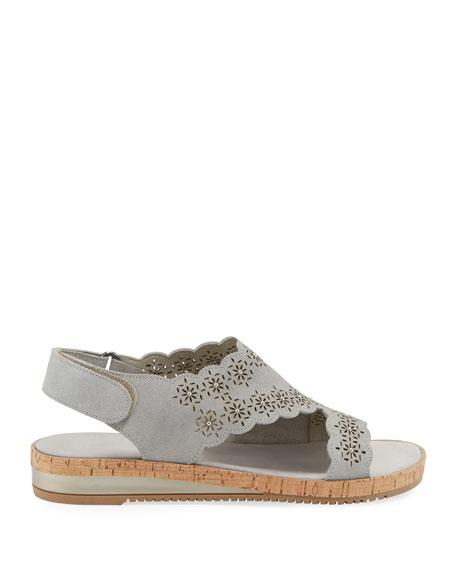Sesto Meucci Stela Laser-Cut Suede Sandals, Gray
