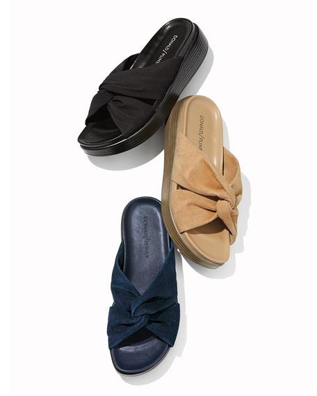 Donald J Pliner Freea Knotted Suede Slide Sandals