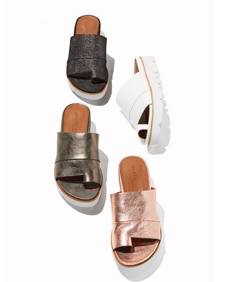 Gentle Souls Lavern Easy Metallic Slide Sandals