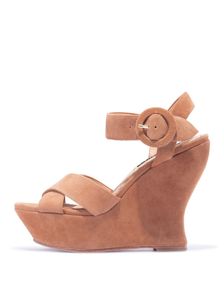 Alice + Olivia Jodiey Suede Wedge Sandals
