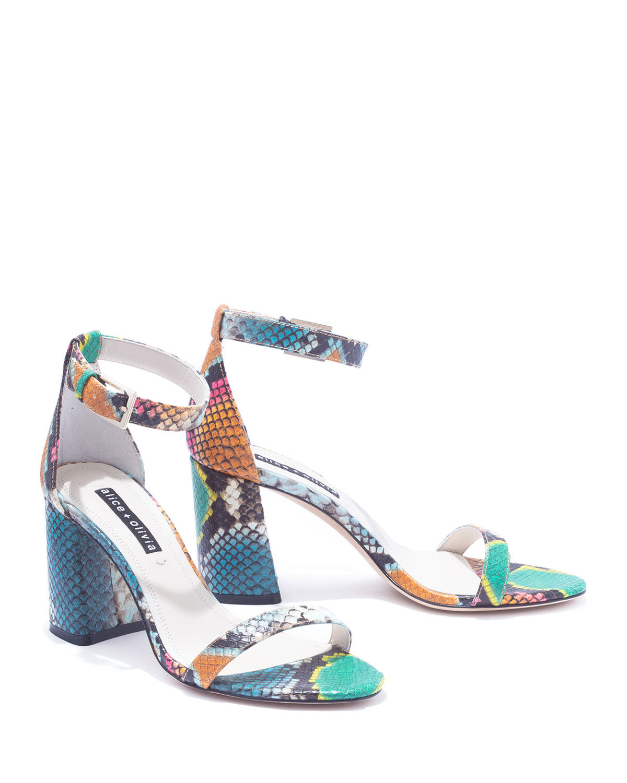 995f6051ec12 Alice + Olivia Lillian Strappy Block-Heel Sandals | Neiman Marcus