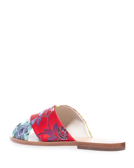 Alice + Olivia Harrieta Embroidered Flat Slide Sandals