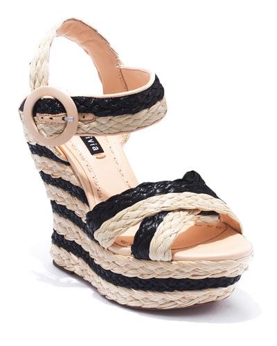 Josiey Raffia Wedge Sandals