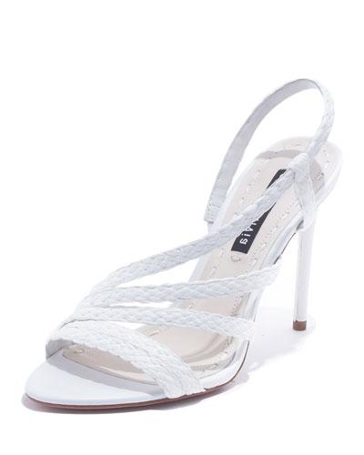 Fanniey High-Heel Raffia Slingback Sandals