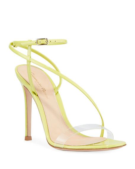 Gianvito Rossi Patent Clear-Strap Asymmetric Sandals