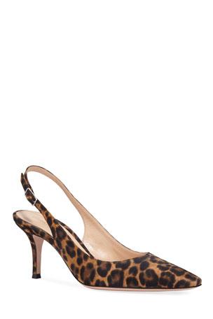 Gianvito Rossi Leopard-Print Slingback Pumps