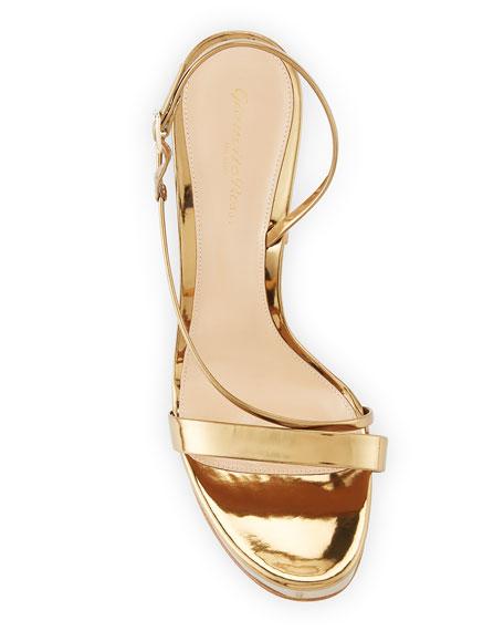 Gianvito Rossi Strappy Metallic Leather Platform Sandals