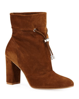 ffe6cb5e995eb Gianvito Rossi Suede Chunky-Heel Booties