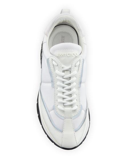 Jimmy Choo Raine Glittered Leather Trainer Sneakers