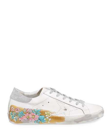 Golden Goose May Sparkle Floral Painted Low-Top Sneakers