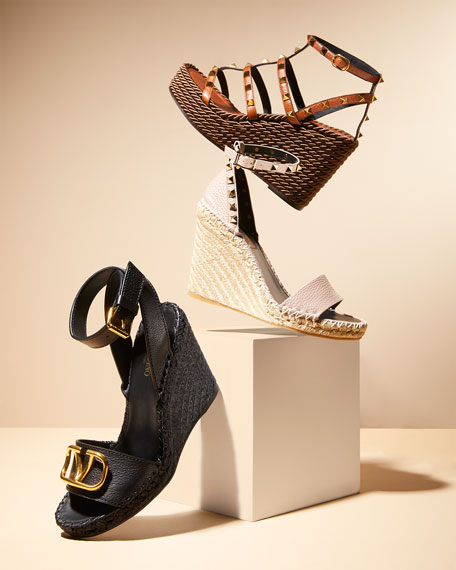 Image 2 of 4: Valentino Garavani VLOGO Leather Wedge Espadrilles