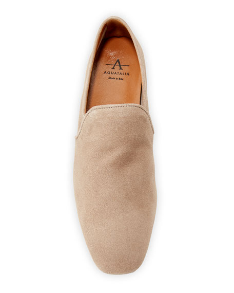 Aquatalia Revy Flat Calf Suede Loafers