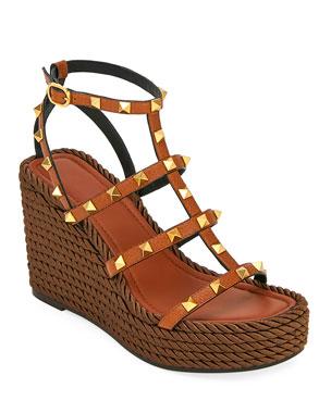a46581717c Valentino Garavani Torchon Rockstud Leather Espadrille Sandals