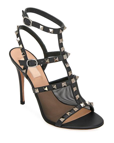 Valentino Garavani Rockstud Mesh/Leather T-Strap Sandals