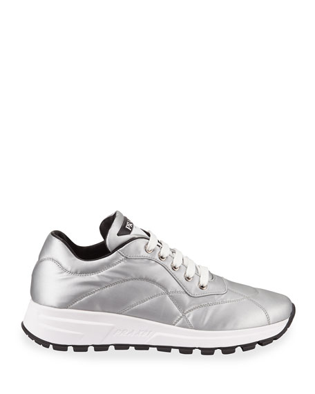 Image 2 of 3: Prada Metallic Nylon Lace-Up Trainer Sneakers